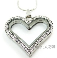 2015 New ! silver heart magnetic glass floating charm locket Zinc Alloy+Rhinestone  (chains included for free)FL013