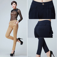 plus size New 2014 Women's Pure Color Pants Long Loose Casual Small Leg Opening Trouser Commuter OL career harem knit pants