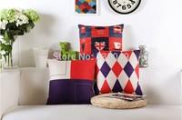 Free shipping 18''X18'' The British minimalist retro geometric cotton and linen sofa office cushion pillow cover
