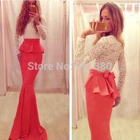 Hot Sale! Vestidos Big Bow Luxury Lace Dress Evening Gowns New Celebrity Women Long Maxi Dress
