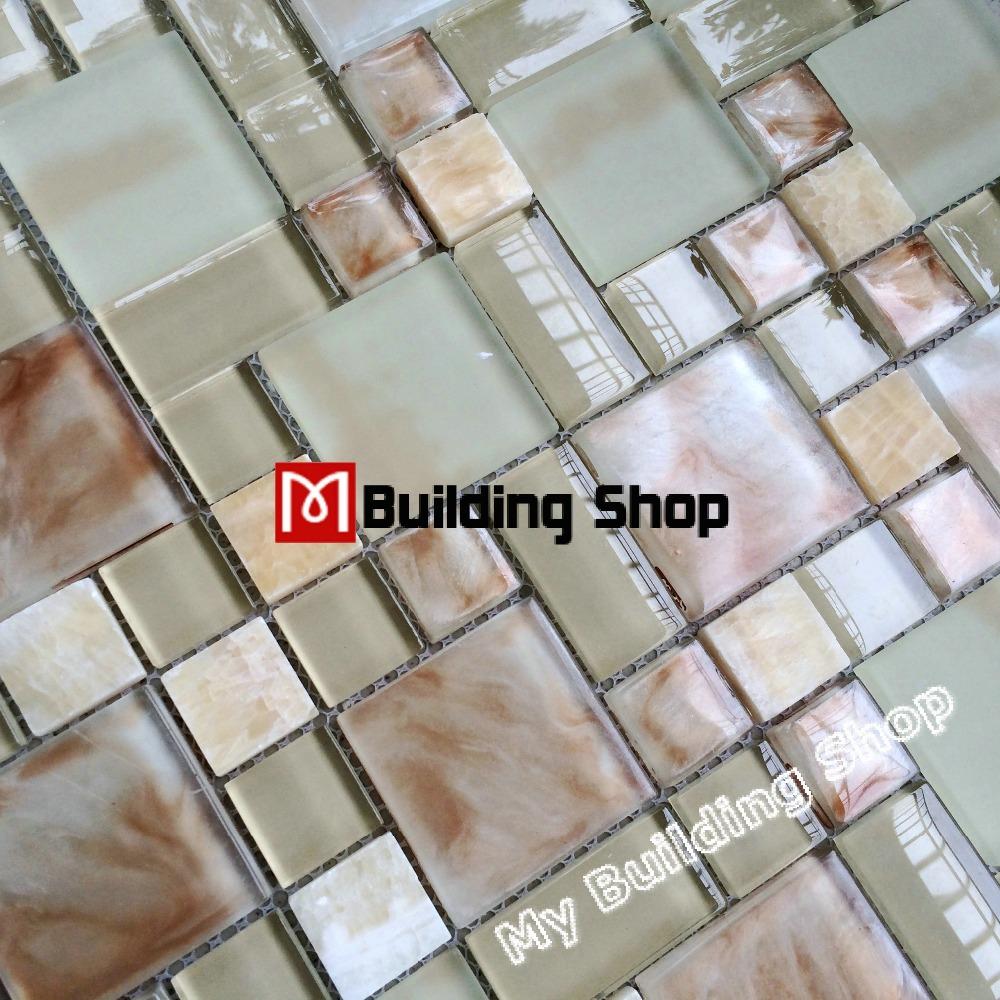 Crystal glass tiles backsplash glass mosaic kitchen wall tile SGMTS158 stone tiles bathroom glass mosaic marble tile(China (Mainland))