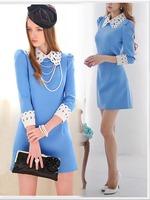 vestidos femininos 2015 Women Peter Pan Collar Half Sleeve Lace Patchwork Dress Summer Casual Blue Chiffon Dress Plus Size