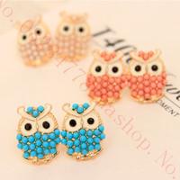 Owl Seed Pearl brincos stud earrings women pendientes ears boucle doreille