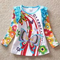 2015 European style girls butterfly print cotton T-shirt / sping autumn kid's coat / children clothes girls