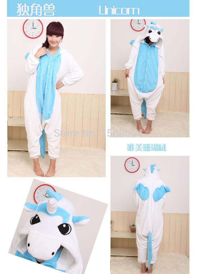 Hete!!! Nieuwe vrouw volwassen pyjama huisdieren kostuums kostuum dier onesie nachtkleding pak blauw eenhoorn gratis verzending(China (Mainland))