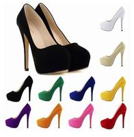 14 CM Vintage Sexy Red Bottom Pointed Toe High Heels Women Pumps Shoes 2014 Brand New Design Less Platform Pumps Tip  LDM121