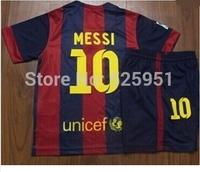 14 15 kids shirt Soccer Jerseys +14-15  children and youth short pants set for MESSI NEYMAR JR A INIESTA SUAREZ XAVI