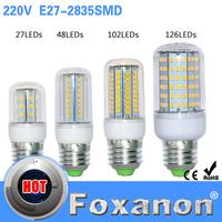 Foxanon Brand LED Lights E27 2835 Led Lamps 220V 6W 9W 15W 20W Corn Led Bulb 24 48 99 102 126Leds Chandelier Lighting 5PCS/Lot