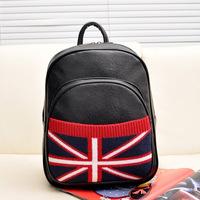 PU Leather Black UK Flag Women Bolsas Mochilas Femininas British Flag Women Casual School Backpack Women Tablet Backpack