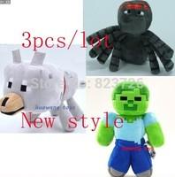 Hot Sale new arrival 3pcs/lot Minecraft Dolls Minecraft MC Plush toys,Spider Wolf Zombie Stuffed Toys,Baby toys
