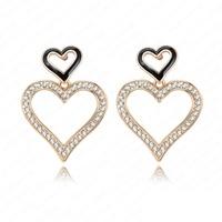 2014 Fashion Wedding Heart Earrings 18K Gold Plate Austrian Crystal SWA Element Stud Earrings For Women 24*32mm ER0058-C