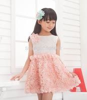 Free shipping Rosette Child summer sleeveless lace dress Kids summer lace ball gowns dress Princess lace summer dress