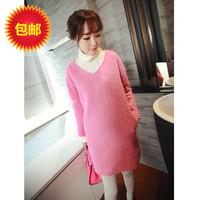 Free shipping Korean fashion maternity clothing V-neck woolen long-sleeve loose one-piece dress maternity long-sleeve top skirt
