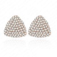 Retro Triangle Earring Punk Style 18K Rose Gold Plate Austrian Crystal Earrings 15*15mm ER0082-A
