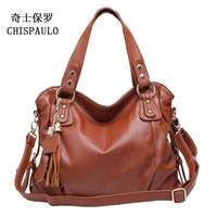 Women's handbag genuine leather cross-body women's tassel handbag fashion tote bag for ladies cowhide shoulder bag messenger