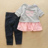 2015 Brand New Baby Children Clothing Set Girls T-shirt+Jeans 2 Pcs/Set 100%Cotton 2-5T Denim Trousers Pants Top Quality