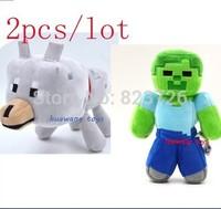 Hot Sale new arrival 2pcs/lot Minecraft Dolls Minecraft MC Plush toys,Zombie Pigman Wolf Stuffed Toys,Baby toys