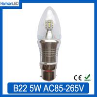 20X B22 bayonet cap base clear glass cover crystal chandeliers high lumen LED candle bulb lamp 5W AC85-265V warm cool white