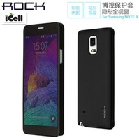 Rock Dr.V Series Invisible Window Smart Intelligent Flip TPU+PC Cover Case For Samsung Galaxy Note 4 N9100 ,1PCS Free shipping