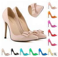 11 CM Vintage Sexy Red Bottom Pointed Toe High Heels Women Pumps Shoes 2014 Brand New Design Less Platform Pumps Tip  LDM120