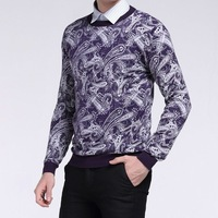 BrandNew Mens Clothing Winter/Autumn Fashion O-neck Casual Purple Sweaters Pullovers S M L XL Thin Long Sleeve Personality Dress
