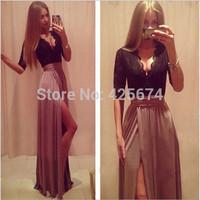 Hot New Lady Sexy Lace Bandage Party Clubwear Women Long Sleeve Maxi Long Side Slit Dress w461