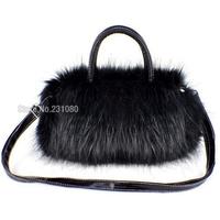 Specials! ! Limited Number! Fashion Female Handbag Black Shoulder Messenger Bag Winter Fur Packet