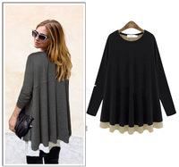2015 Winter and Spring new women dress ruffles hem Plus size basic dress M-5XL Casual long sleeve women t-shrt dress G27Y