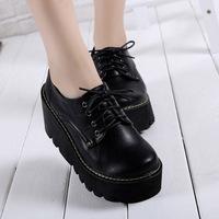 women high heels wedges platform shoes lacing hoof heels student leather shoes 32 33 41 42 40 sy-1012