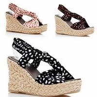Brand Big Size 41 42 43 Wedges Bohemia Sandals Women ,Polka Dot Platform Summer Beach Slippers,High Heel Sandals For Teenies