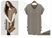 2015 2color plus size L-5XL new antumn winter fashion soild short sleeve V neck knitted dress women casual dress women clothing