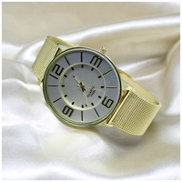 2014 Relojes Women Watches gold Watches Mesh Full Steel Business Casual Wristwatch Band Quartz Charm Bracelet relogio masculino
