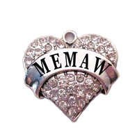 free shipping 50pcs a lot rhodium plated fashion MEMAW Clear Crystal Heart Family Pendant(P100191)