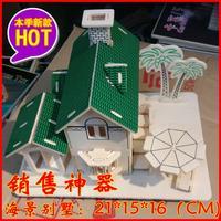 3D wooden puzzle assembled model house with sea view villa 21cmx15cmx16cm