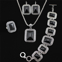 Fashion Jewelry Antique Silver Plated Longevity Necklace Bracelet Earrings Ring Oblong Black Turquoise Jewelry Sets TS107-1