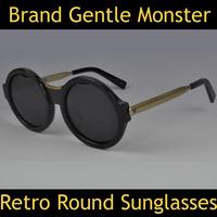 2014 Korea Brand Designer Hot Round Sunglasses Gentle Monster Model Shadow Fish Brand Sun Glasses Oculos Men Retro Sunglasses