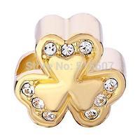 2014 New Hot 200PCs Silver 18k Golden Lucky Irish Charm Bracelet Threeleaf Clover Shamrock European Bead Bracelets CP0863