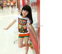 free shipping 2015 summer female child 7 colour owl diamond short sleeve T-shirt girls t-shirt children's clothing wholesale