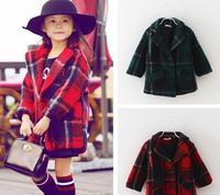 Retail 1Pc 2015 New Kids Fashion Winter Coats Turn-down collar Plaid Overcoat Children Thick Outerwear Girls Wool Jackets TZ48