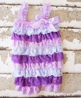 cute Purple blue Ruffle petti lace romper  toddler girls infant romper