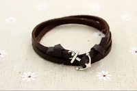 Black/Brown Leather Multilayer Wrap Nautical Anchor Bracelet For Men And Women, 6pcs #034