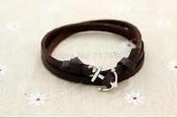 Black/Brown Leather Multilayer Wrap Nautical Anchor Bracelet For Men And Women, 6pcs #034