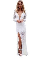 2014 New Women Dress V Neck Long Sleeve Casual Maxi Dress Black White Backless Maxi Dress Elegant Evening Party Dresses