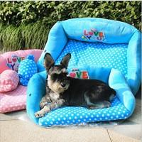 Pet Product 2015 New Dog Bed Sofa Pet House Kennel Soft Fleece Dog Pillow Bed House Wholesale Pet Supplies 1pcs/lot Pink Blue