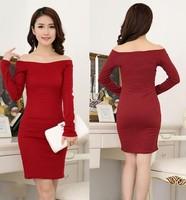 sexy dresses 2014 new arrival women dress vestido de festa plus size Slash neck red sexy knit dress vestidos Free Shipping