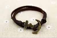 Multilayer Leather Bronze Nautical Anchor Bracelet, Men's And Women's Bracelet, 6pcs #036