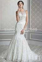 New Arrival Romantic vestido de noiva Scoop Beading Vintage Lace Lace up Back Chapel Train Classic Mermaid Wedding Dresses 2015