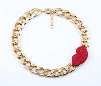 red lips choker necklace gold plated chunky chain necklace jewelry for women 2013 new design fashion free shipping