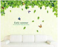 Green Leaf Colorful Dancing Butterflies Art Sticker Room Decor Decals Mural If