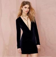 New Arrival 2015 Women Sexy Party Dress Velvet Long Sleeve Bodycon Dress Brand Bandage Club Backless Deep V Neck Dress